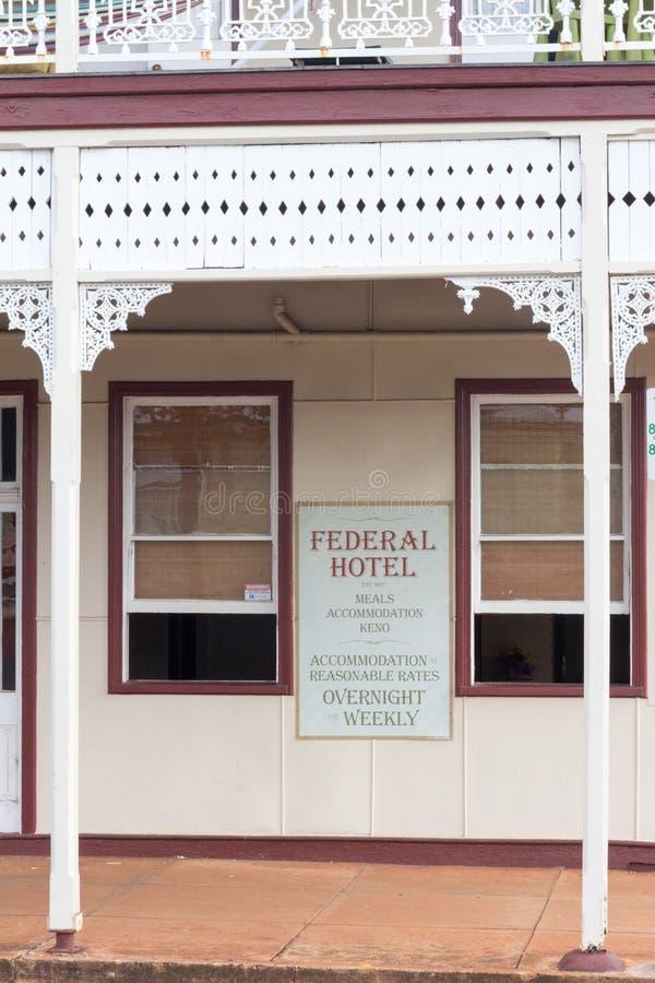 De stijlarchitectuur van federatiefilgree, Federaal Hotel, Childers, Queensland, Australië royalty-vrije stock foto's