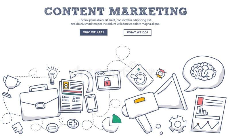 De stijlconcept van het krabbelontwerp inhoud marketing, marketing en het delen van digitale inhoud De moderne illustratie van de royalty-vrije illustratie