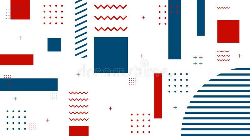 De stijldekking van Memphis met geometrische vormen en patronen wordt geplaatst dat Geometrische vector royalty-vrije illustratie