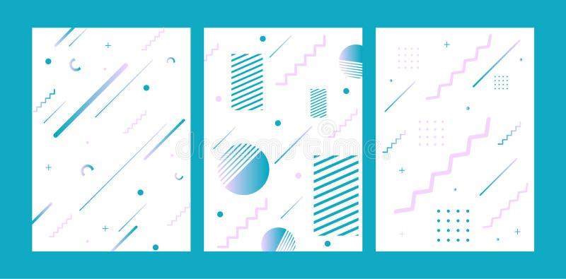 De stijldekking van Memphis met geometrische vormen en patronen wordt geplaatst dat Geometrische vector Inzameling van malplaatje stock illustratie