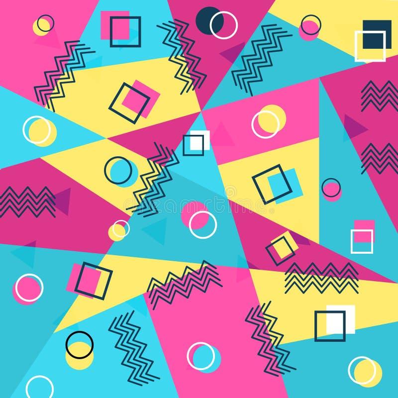 De stijldekking van Memphis met geometrische vormen malplaatjes in in manier 80-jaren '90 vector illustratie