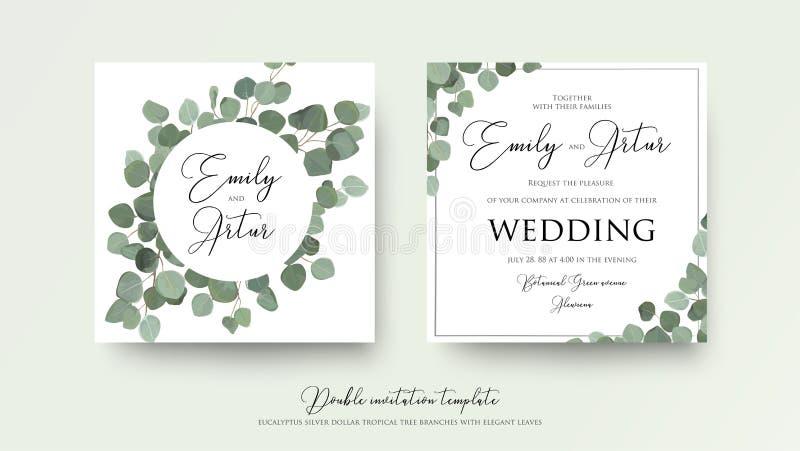 De stijldubbel van de huwelijks nodigt het bloemenwaterverf, uitnodiging, sparen uit royalty-vrije illustratie
