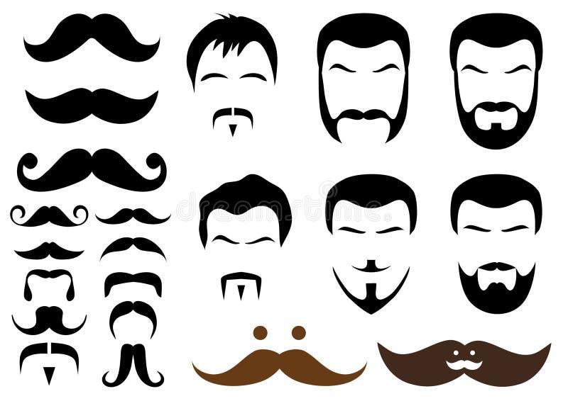 De stijlen van de snor en van de baard,   royalty-vrije illustratie