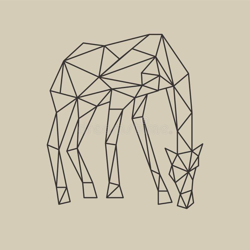 De stijlgiraf van de origami veelhoekige lijn met neer hoofd Vector illustratie stock illustratie