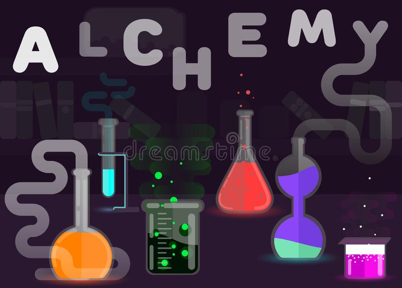 De stijlillustratie van het alchimie vlakke ontwerp vector illustratie