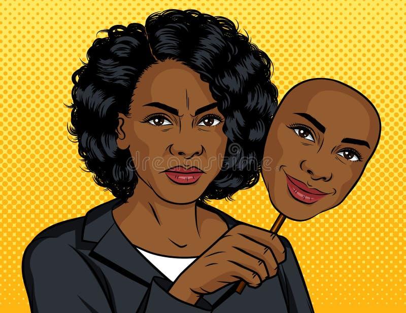 De stijlillustratie van het kleurenpop-art Afrikaans Amerikaans meisje met een vals gezicht Het donkere gevilde meisje houdt een  vector illustratie