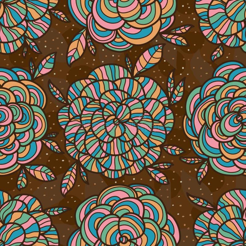 De stijlkleur die van de cirkelbloem naadloos patroon trekken vector illustratie