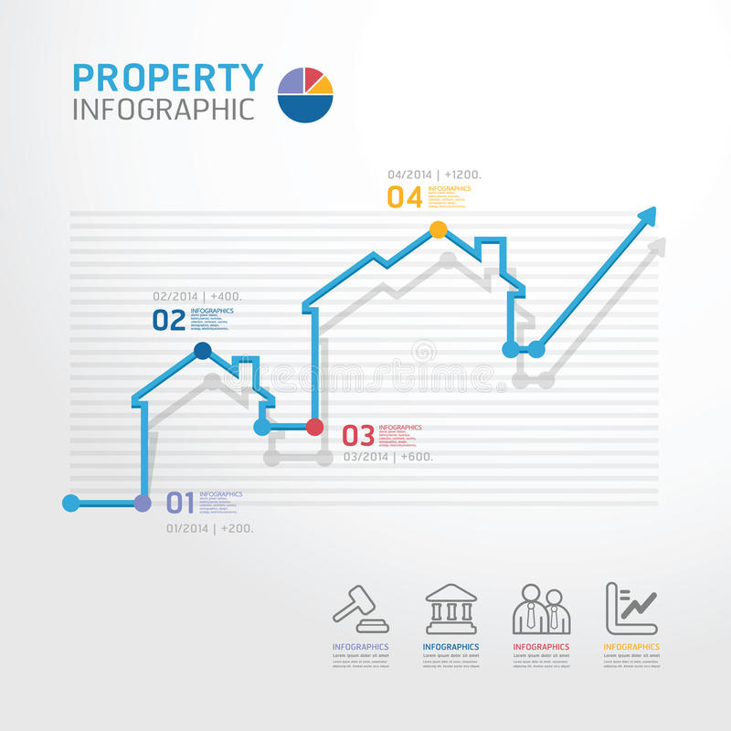 De stijlmalplaatje onroerende goederenvan de bedrijfsdiagramlijn voor infographi stock illustratie