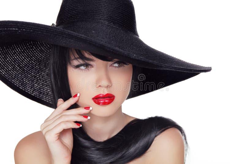 De Stijlmannequin Girl van schoonheidsvogue in zwarte hoed. Manicuredna stock foto