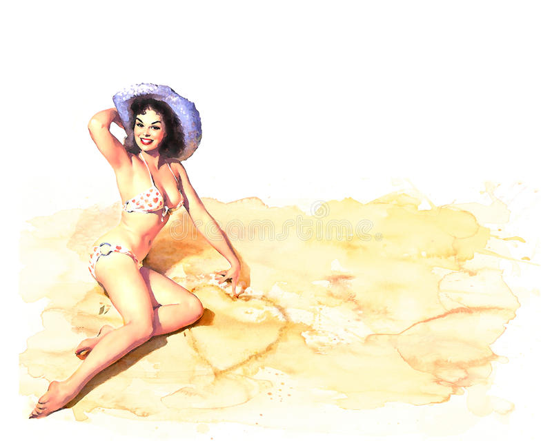 De stijlmeisje van Pinup watercolour royalty-vrije stock afbeeldingen
