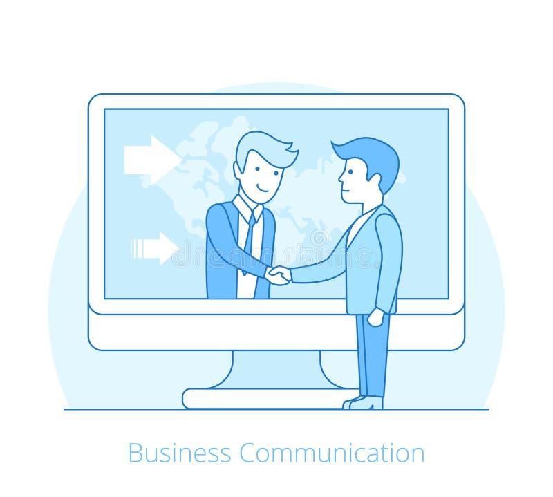 De stijlmensen bedrijfs van de Communicatie Vlakke lijnkunst stock illustratie