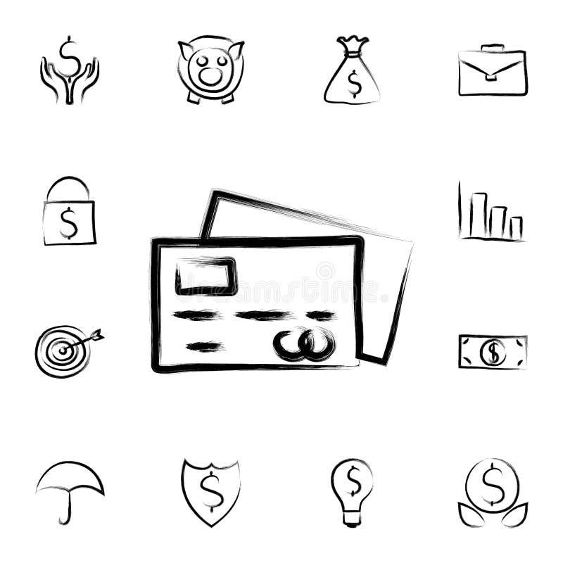 de stijlpictogram van de creditcardschets Gedetailleerde reeks van bankwezen in de pictogrammen van de schetsstijl Premie grafisc stock illustratie