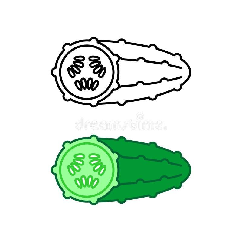 De stijlpictogram van de komkommer eenvoudig lijn Zwarte en kleur stock illustratie