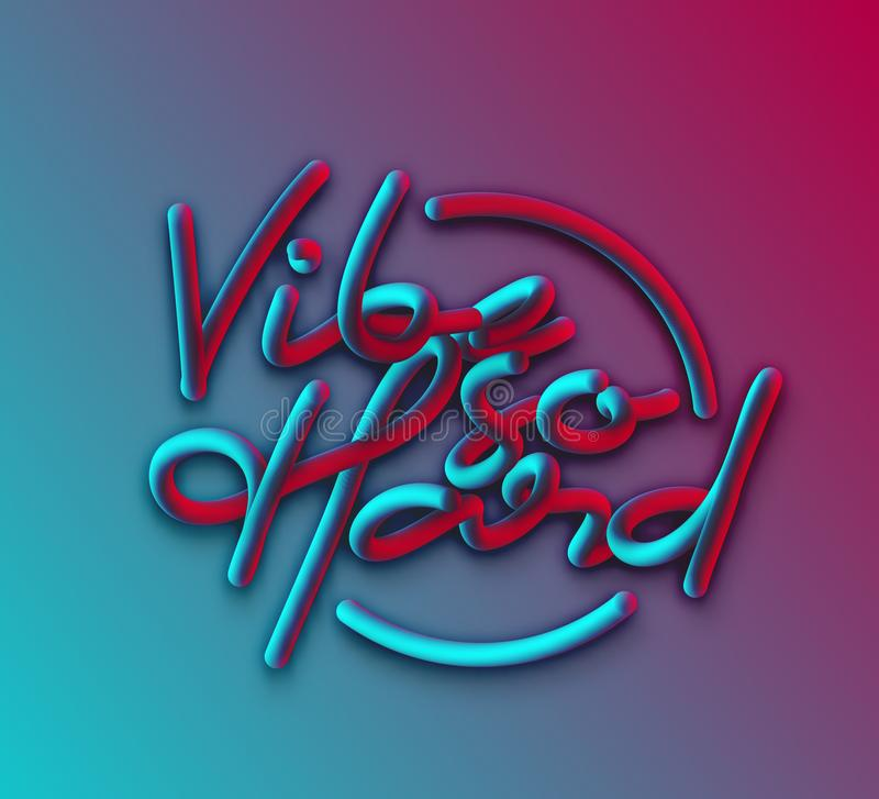 De Stijltekst van de Vibe zo Harde Kalligrafische 3d Pijp royalty-vrije illustratie