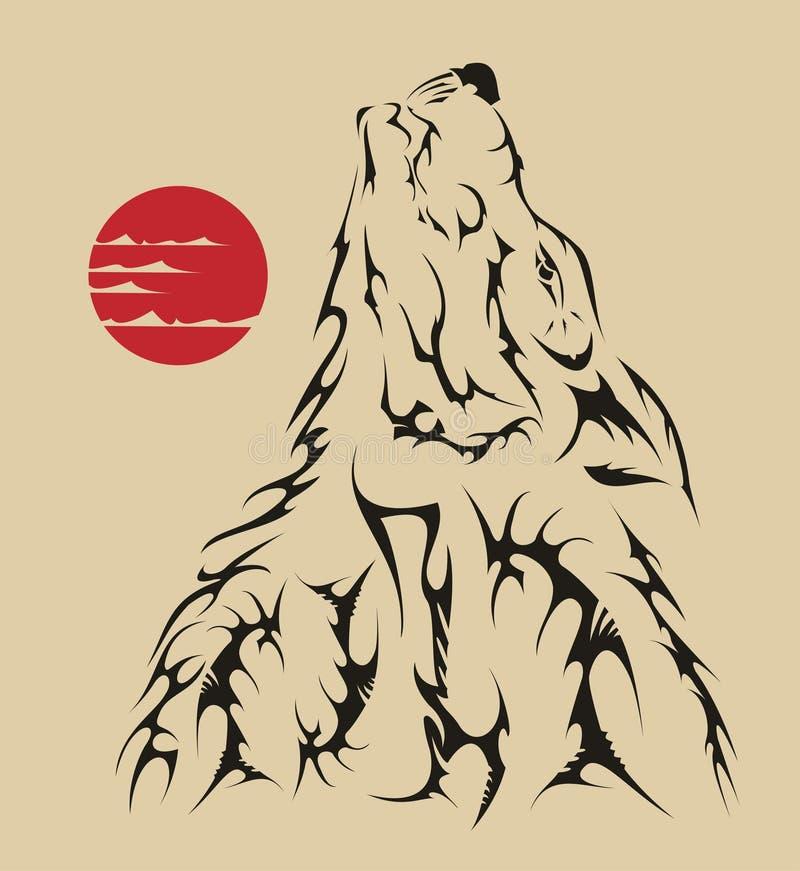 De stijlwolf van de tatoegering stock illustratie