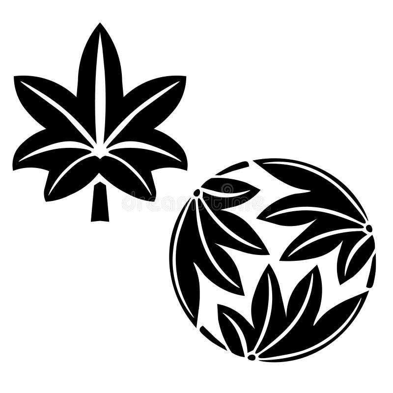 De stiliserade lönnlöven, japansk symbolism stock illustrationer