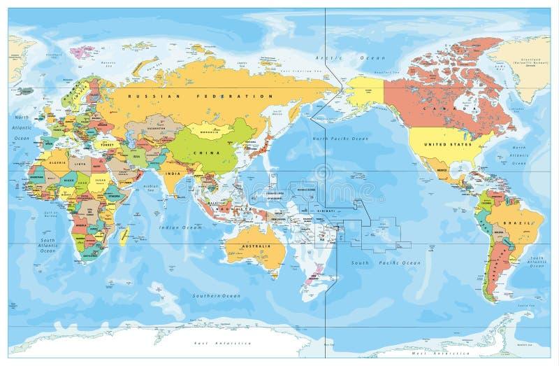De Stille Oceaan Gecentreerde Wereld Gekleurde Kaart stock illustratie