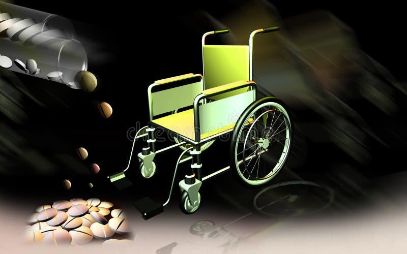 De stoel en de tabletten van het wiel vector illustratie