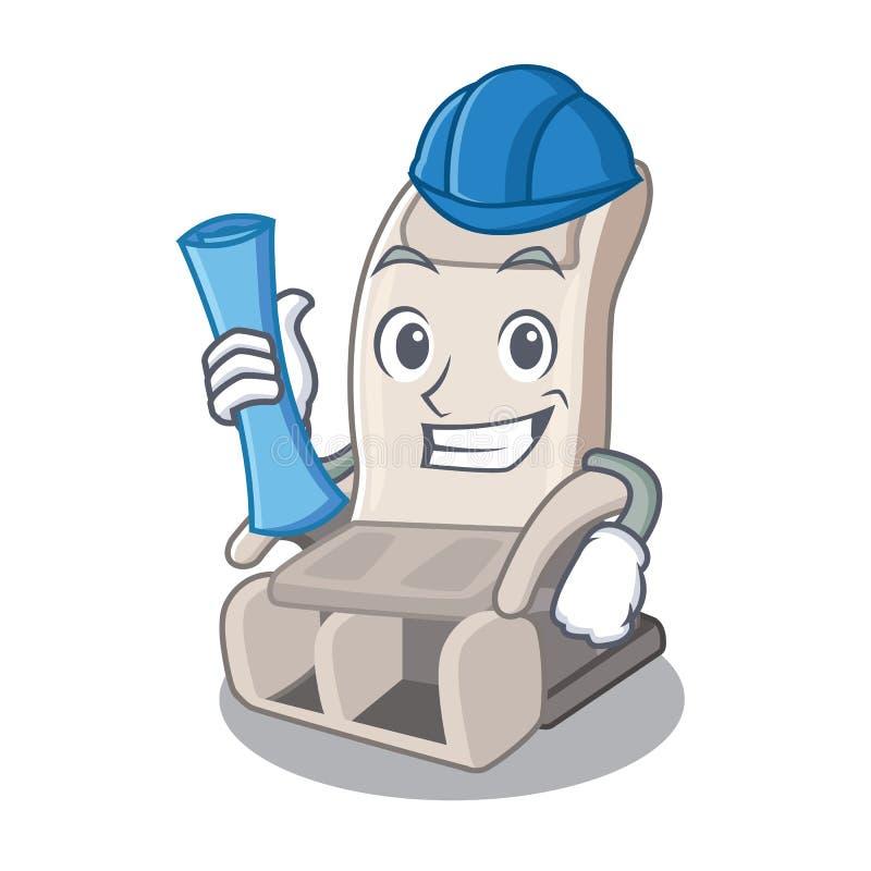 De stoel van de architectenmassage in de mascottevorm stock illustratie