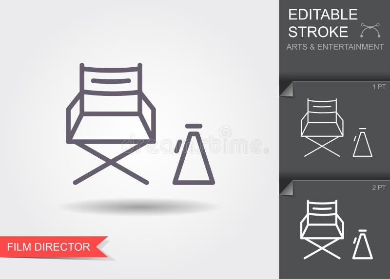 De stoel van de bioskoopdirecteur Lijnpictogram met editable slag vector illustratie