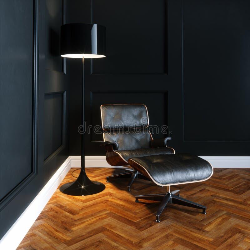 De stoel van de leerzitkamer in nieuw zwart binnenland met houten parket F stock illustratie