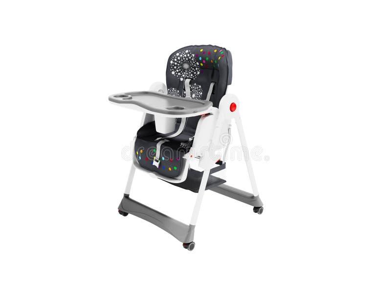 De stoel voor voedend kind met zijn lijst en de afdeling voor 3d mok geven op witte achtergrond geen schaduw terug royalty-vrije illustratie