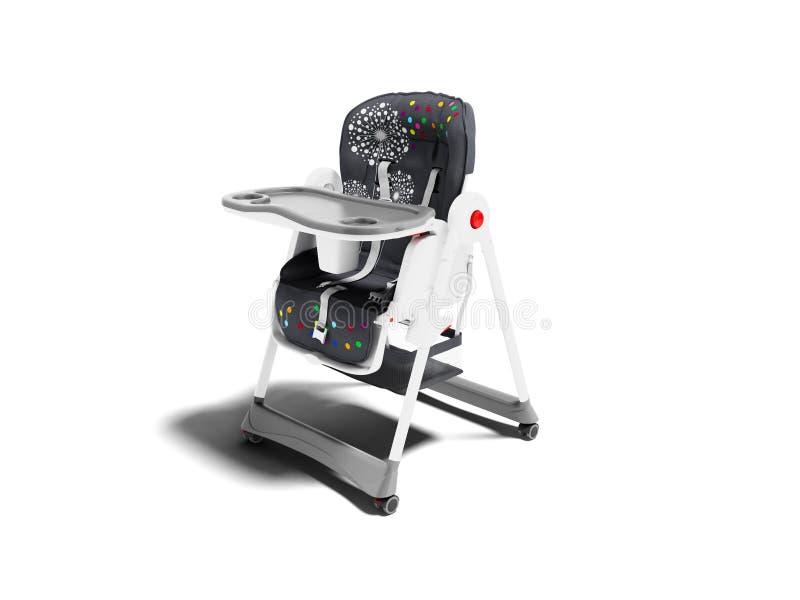 De stoel voor voedend kind met zijn lijst en de afdeling voor 3d mok geven op witte achtergrond met schaduw terug royalty-vrije illustratie