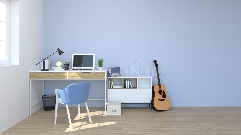 De stoelen en de lijsten zijn in ruimte het binnenlandse 3D teruggeven terug naar school achtergrondplanken en boeken met pen op  royalty-vrije illustratie