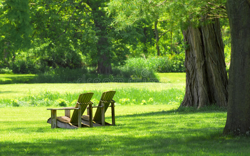 De stoelen van Adirondack in land het plaatsen stock foto