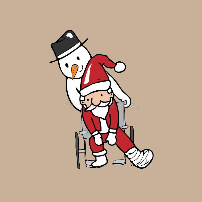 De stoelsneeuwman van het kerstmanwiel vector illustratie