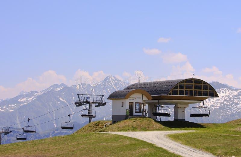 De stoeltjeslift van Ebenfeldxpress, Gerlos, Oostenrijk royalty-vrije stock afbeeldingen