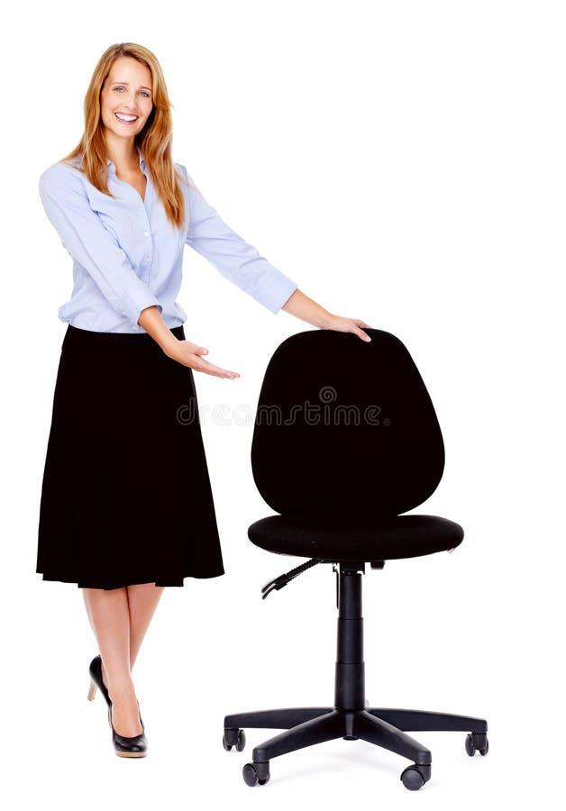 De stoelvrouw van het bureau stock foto's