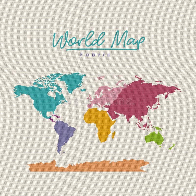 De stof van de wereldkaart kleurrijk op witte achtergrond stock illustratie