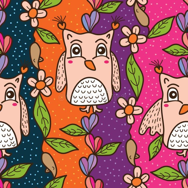 De stoffen naadloos patroon van het uil verticaal gordijn royalty-vrije illustratie