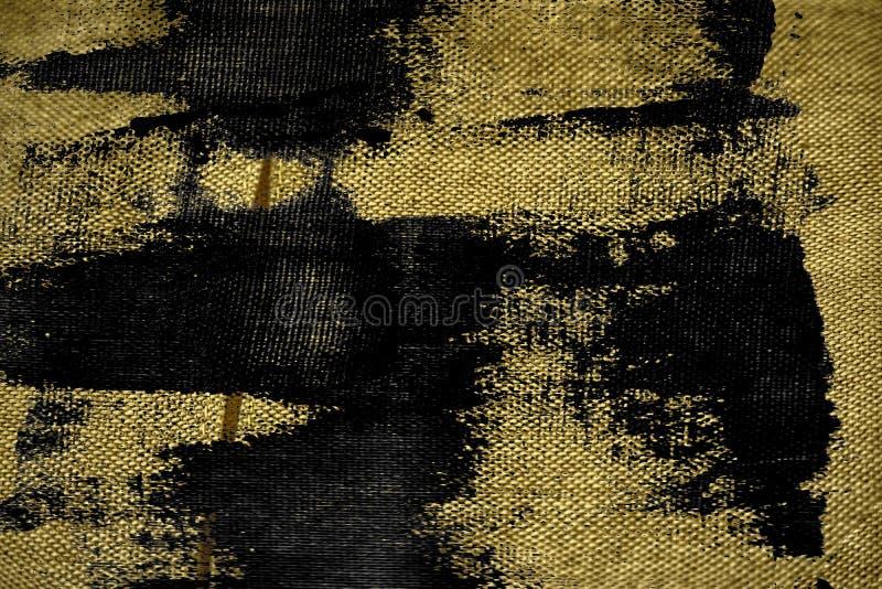 De stoffenoppervlakte van het Grunge vuile ultra gele Linnen voor model of ontwerpergebruik, de steekproef van de boekdekking, mo stock afbeelding