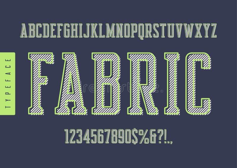 De stoffenvector condenseerde retro lettersoort, hoofdletters en nu royalty-vrije illustratie