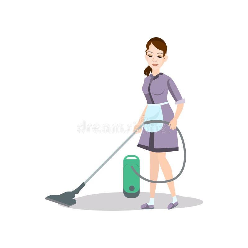 De stofzuiger van het schoonmaakstergebruik om keukenvloer te wassen vector illustratie