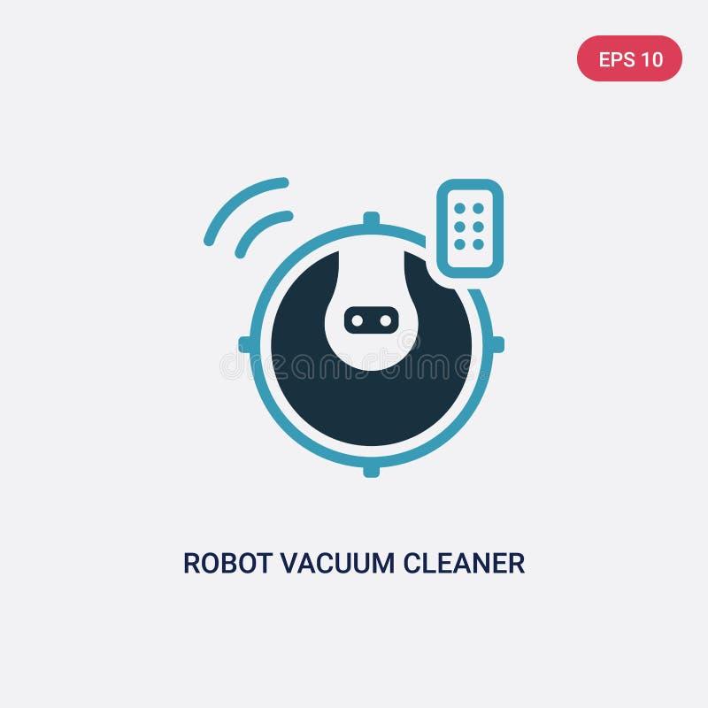 De stofzuiger vectorpictogram van de twee kleurenrobot van slim huisconcept het geïsoleerde blauwe vector het tekensymbool van de stock illustratie