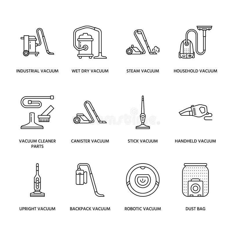 De stofzuigers kleurden vlakke lijnpictogrammen Verschillende industriële vacuatypes -, robotachtig huishouden, handbediend, bus royalty-vrije illustratie