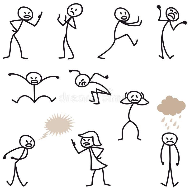 De stok van de stokmens stelt boze verstoord slecht gehumeurd voor vector illustratie
