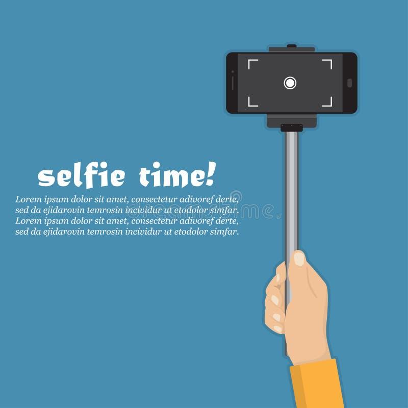 De stok van de handholding selfie met smartphone in een vlak ontwerp vector illustratie