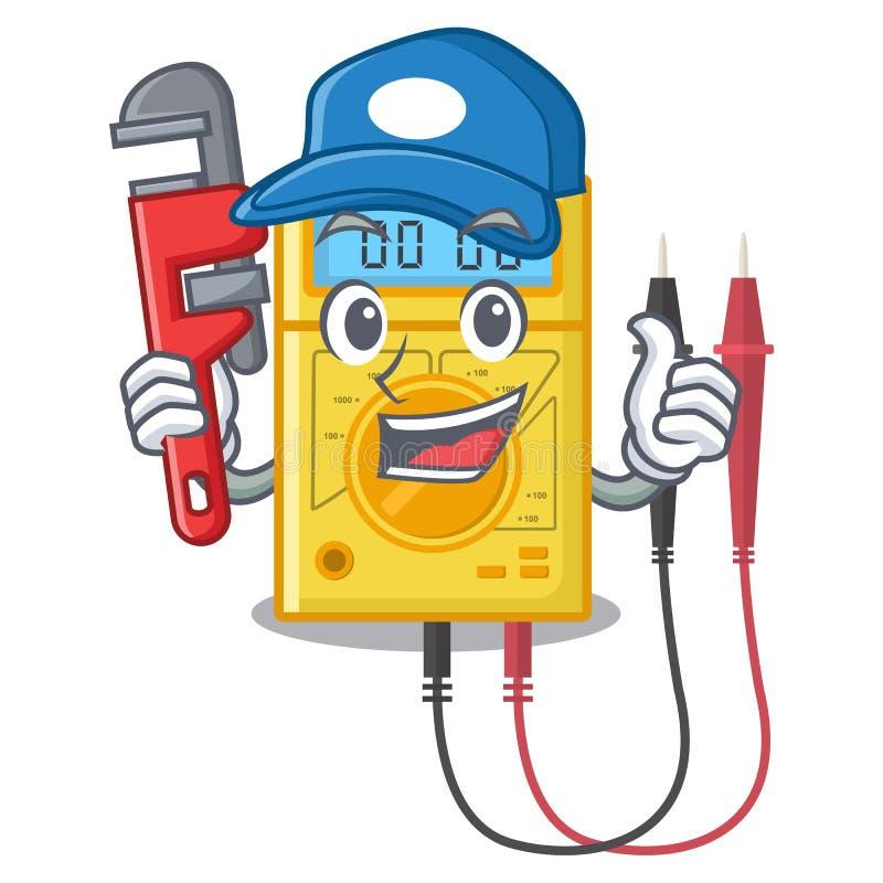 De stokken van de loodgieter digitale multimeter aan de beeldverhaalmuur stock illustratie