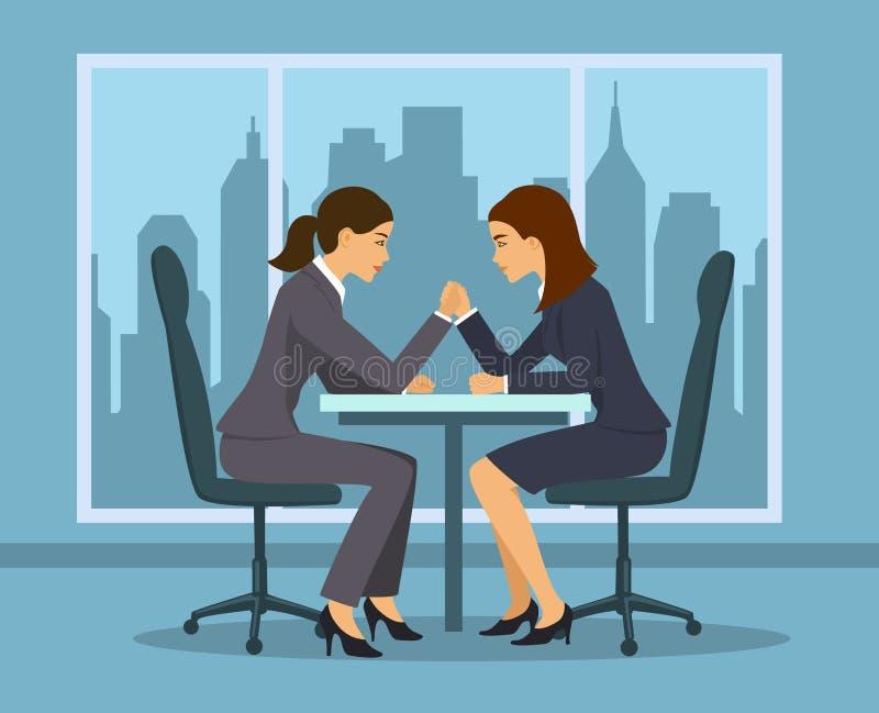 De stokvoering en de holdingshamer van de bedrijfs de concurrentieconcept Twee die onderneemster, werknemerswapen in de bureau ve vector illustratie