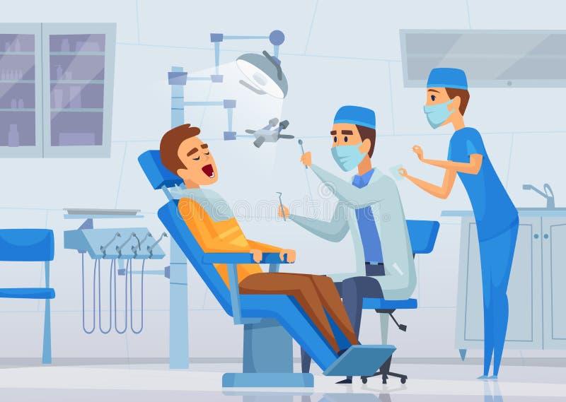 De stomatologiekliniek De medische specialisten die van materiaaltandartsen in kenmerkend het conceptenbeeldverhaal van de kabine royalty-vrije illustratie