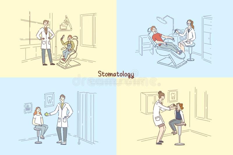 De stomatologiekliniek, mensen die op tandartskantoor, stomatologist geduldige tanden, de pediaterbanner onderzoeken van het kind royalty-vrije illustratie