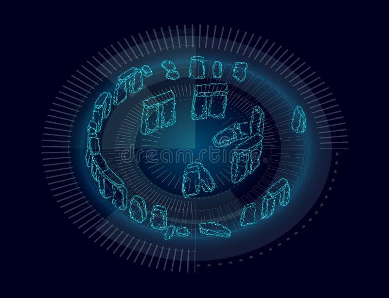 De Stonehenge bandera geométrica polivinílica bajo Tecnología poligonal de la ciencia del análisis histórico de los cálculos del  libre illustration