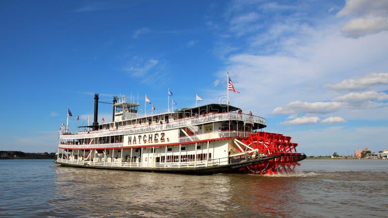 De Stoomboot NATCHEZ, de Rivier van New Orleans van de Mississippi stock afbeeldingen