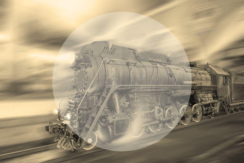 De stoomtrein gaat snel op de achtergrond van de nachtpost vector illustratie
