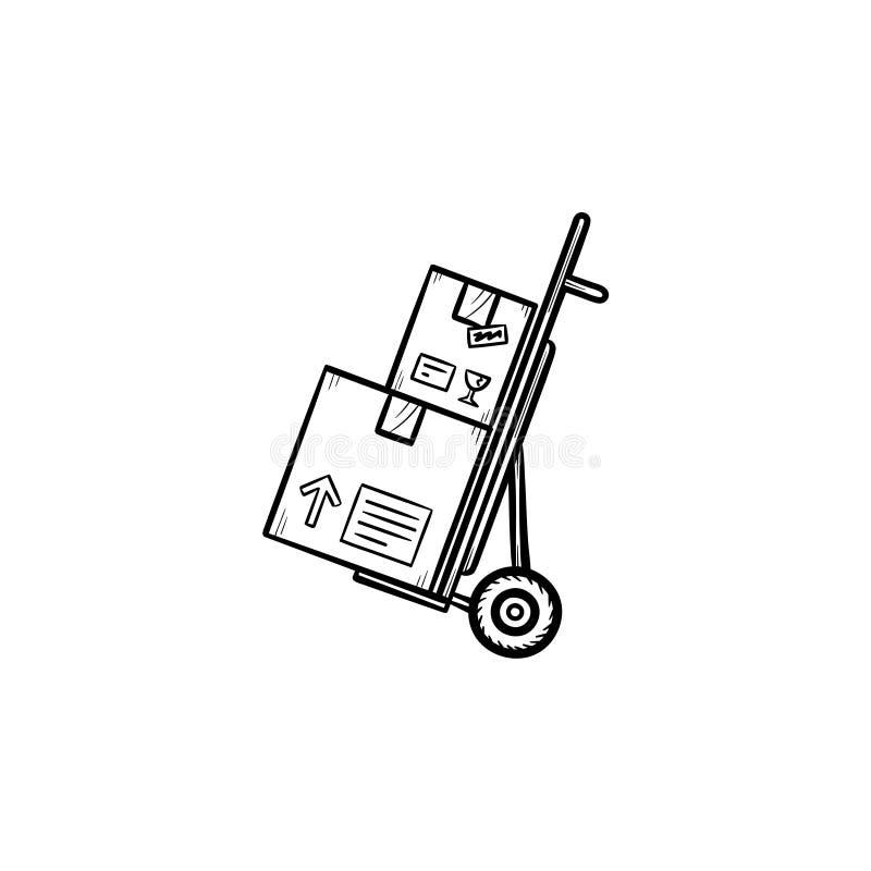 De stootkar met kartondozen overhandigt het getrokken pictogram van de overzichtskrabbel royalty-vrije illustratie