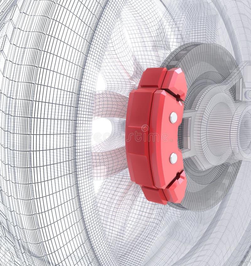 De stootkussens van het wiel en van de rem vector illustratie